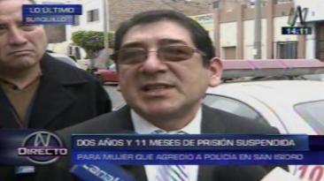 """Abogado de policía agredido por mujer: """"Es una pena benigna"""""""