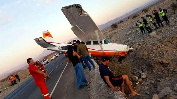 Ica: Avioneta aterrizó de emergencia en Panamericana Sur