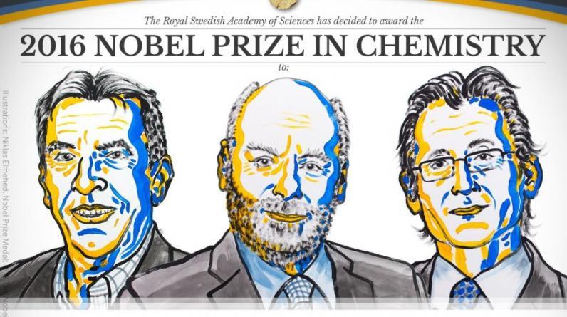 Jean-Pierre Sauvage, J. Fraser Stoddart y Bernard Feringa, ganadores del Premio Nobel de Química 2016. (Nobel Prize)