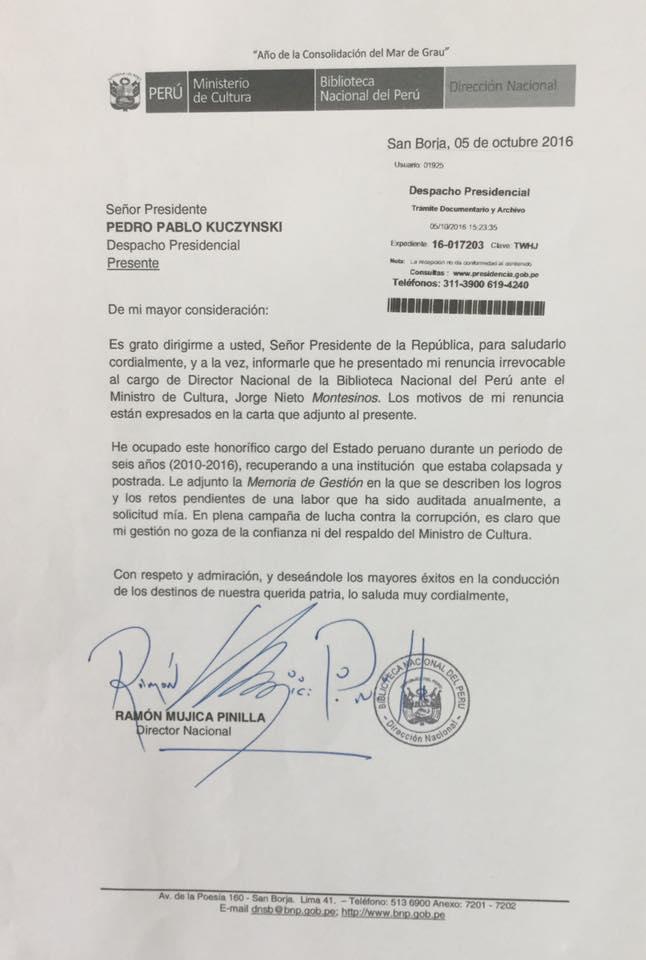 Carta presentada por Ramón Mujica Pinilla ante Pedro Pablo Kuczynski. (La República)