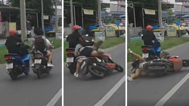 Pelea de motociclistas terminó con patada en plena marcha