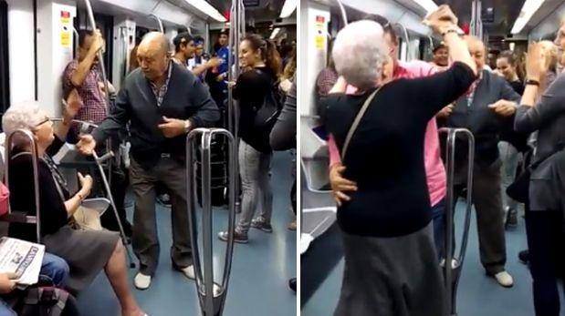 Pareja de ancianos sorprende al bailar hip hop en el metro