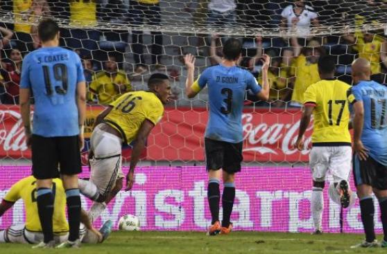 Colombia logró empate ante Uruguay con este cabezazo de Mina