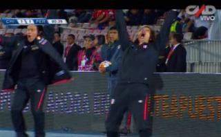 Ricardo Gareca celebró de forma efusiva el gol de Perú [VIDEO]