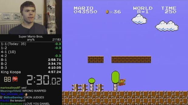 Establecen récord de velocidad del viejo Super Mario Bros