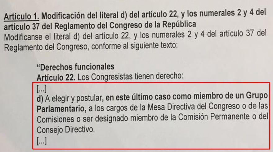 (Captura: modificatoria al Reglamento del Congreso aprobada hoy)