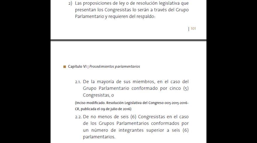 (Captura: actual Reglamento del Congreso)