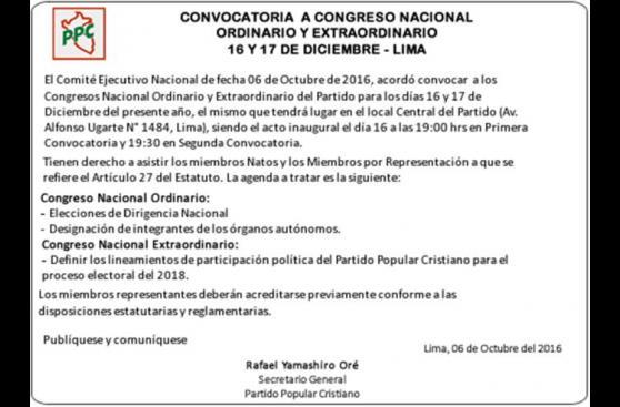 PPC convoca congreso para elegir nueva dirigencia partidaria
