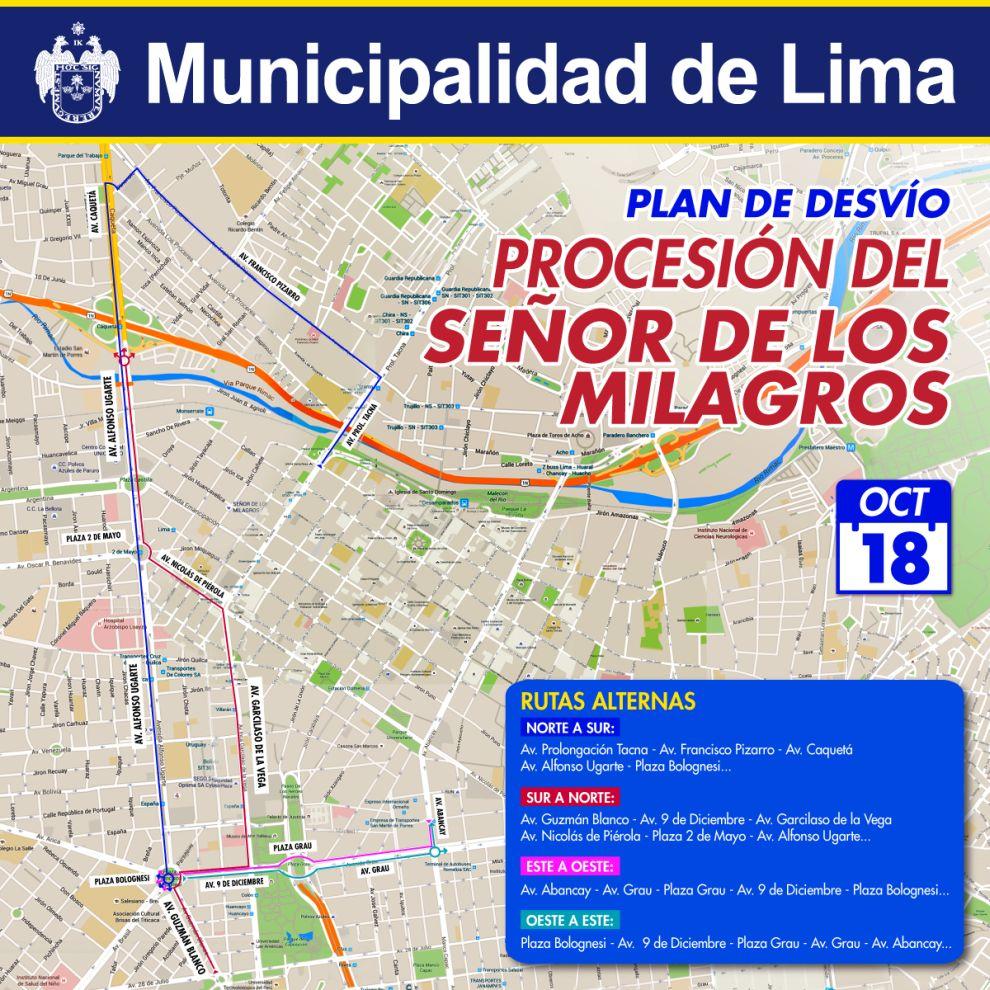 La imagen del Señor de los Milagros volverá a recorrer a las calles del Centro de Lima este martes 18 y miércoles 19 de octubre. (Municipalidad de Lima)