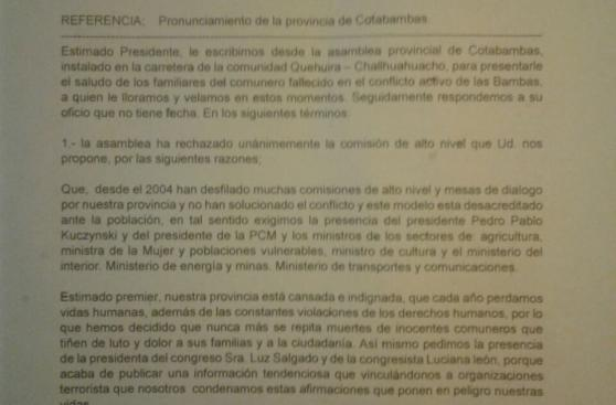 Paro en Las Bambas: comuneros rechazaron comisión del Ejecutivo