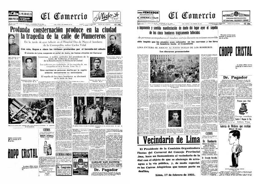 Portadas de El Comercio sobre el incendio en la calle Plumereros que cobró la vida de 5 bomberos. (Fuente: Archivo El Comercio)