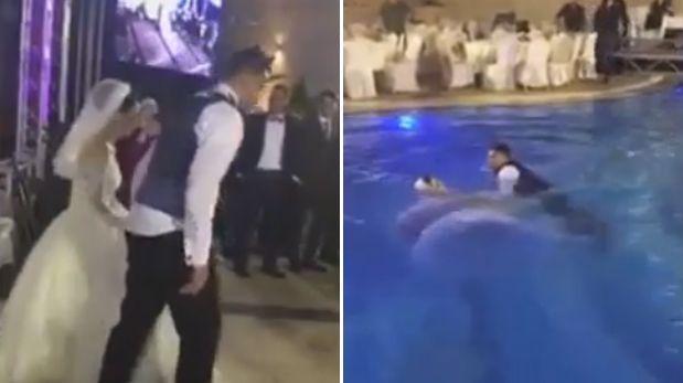 YouTube: recién casados se lanzan a piscina y no pueden salir
