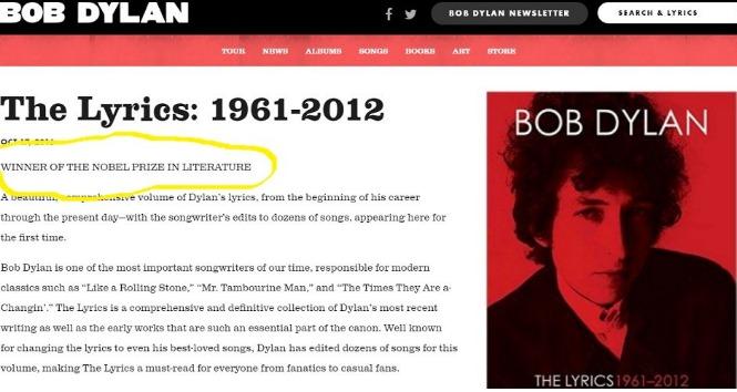 Así apareció la mención al Nobel en la web de Bob Dyan. (Fuente: @DLerer en Twitter)
