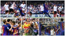 Secuencia: gol de Messi, provocación de Neymar y botellazo