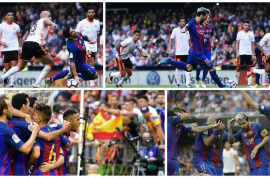 Secuencia: gol de Messi, provocación de Neymar y el botellazo