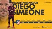 """Diego Simeone elegido """"Mejor Entrenador"""" de la Liga Española"""