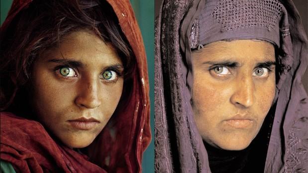 Sharbat Gula. La imagen de la izquierda fue tomada en 1985. (AP)