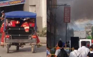 Bomberos llegaron hasta en mototaxi a atender incendio