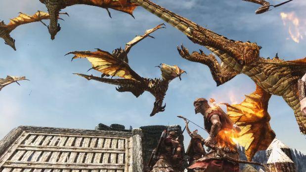 YouTube: así pelean 100 dragones contra mil arqueros en Skyrim