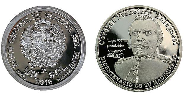 Así se ve la moneda que rinde homenaje a Francisco Bolognesi. (Foto: Difusión/BCR)