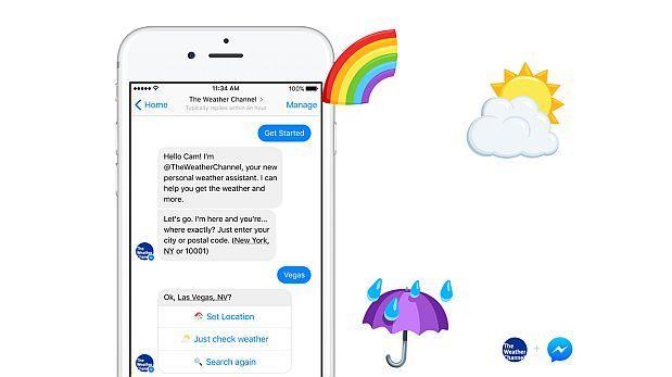 Nuevo 'bot' de Facebook Messenger brinda datos sobre el tiempo