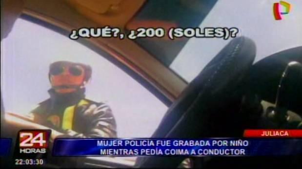 Graban a policía pidiendo coima en Juliaca