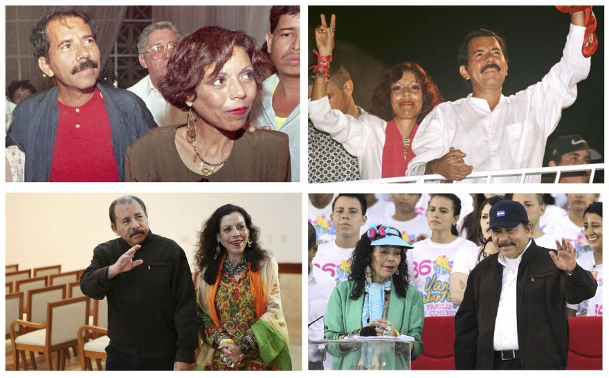 (FILES) Photo composition showing Nicaraguan President Daniel Ortega and his wife Rosario Murillo in Managua on (L to R) February 18, 1995, October 16, 1996, December 4, 2013 and July 19, 2015. Ortega, head of the Sandinista National Liberation Front party, held his first term as president between 1985 and 1990. He then spent years in the political wilderness before coming back into power in 2006, and being re-elected in 2011. / AFP / STF / TO GO WITH AFP STORY BY BLANCA MOREL - XGTY