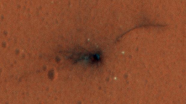 Muestran a color la zona de impacto de Schiaparelli en Marte