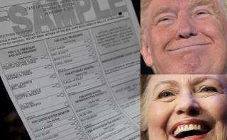 Así es la cédula con la que eligen entre Clinton o Trump