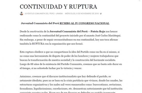 Patria Roja se resquebraja tras ruptura con Juventud Comunista