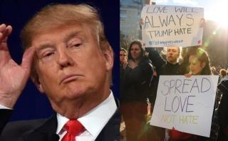 """Al grito """"paz y amor"""" protestan contra Trump en Nueva York"""