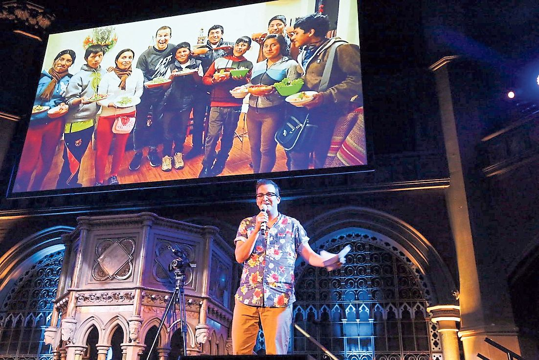 Martín Morales en la presentación en Londres. (Fiona Freund)