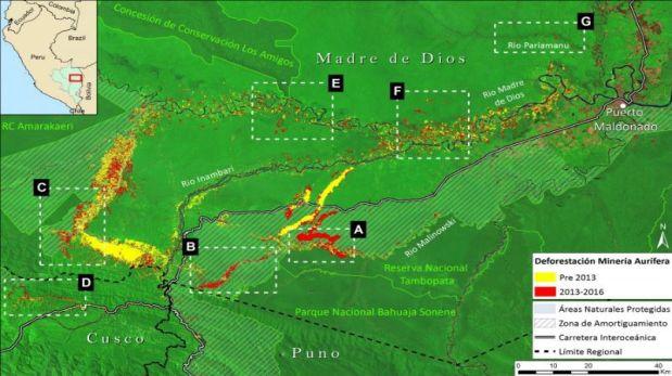 En amarillo aparece la deforestación antes de 2013, la parte en rojo es la deforestación provocada por minería ilegal entre 2013-2016 (Crédito: USGS/NASA)