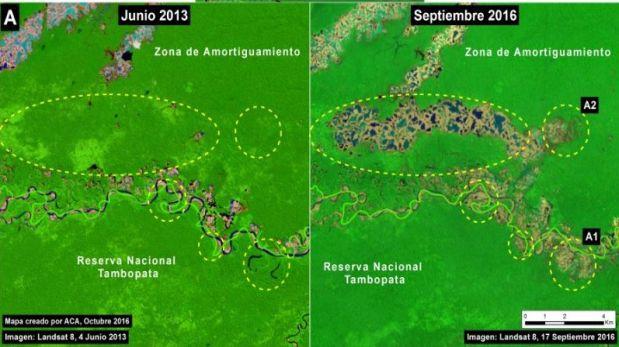 Imágenes tomadas en junio de 2013 (izquierda) y setiembre de 2016 (derecha) de la reserva nacional de Tambopata y su zona de amortiguamiento (Crédito: USGS/NASA)