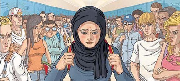 Ilustración de Donggyun Lee en material antiacoso escolar del Southern Poverty Law Center contra minorías musulmanas.