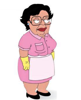 """Consuela, la estereotipada sirvienta latina de """"Family Guy"""". Su rasgo humorístico es su pésima sintaxis en inglés."""