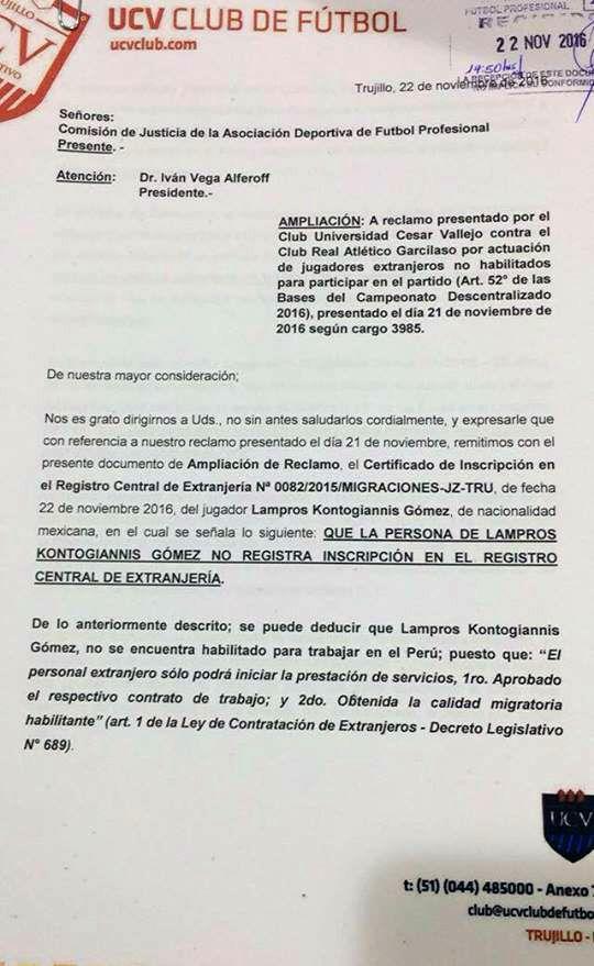 Documento de Vallejo presentado a CJ-ADFP