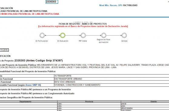 Los by-pass en Salaverry ya están en MEF: costarán S/152 mlls.
