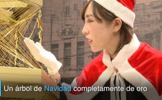 Navidad reluciente: en Japón fabricaron árbol navideño de oro