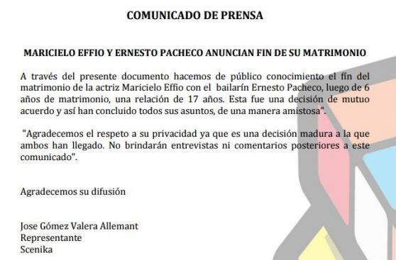 Maricielo Effio anuncia fin de su matrimonio con Ernesto