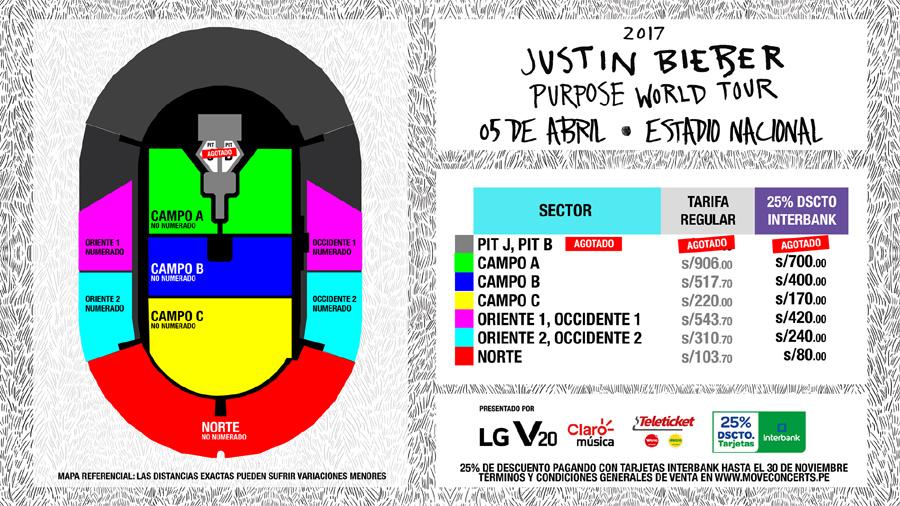 Plano del concierto de Justin Bieber en Lima. (Foto: Difusión)
