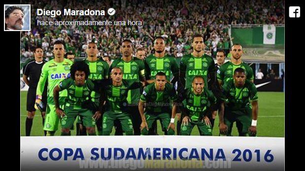 Maradona lamenta accidente y se declara hincha de Chapecoense