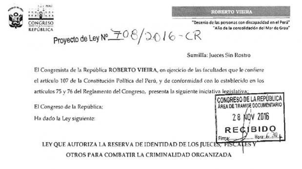 Proyecto de Vieira propone jueces y fiscales 'sin rostro'