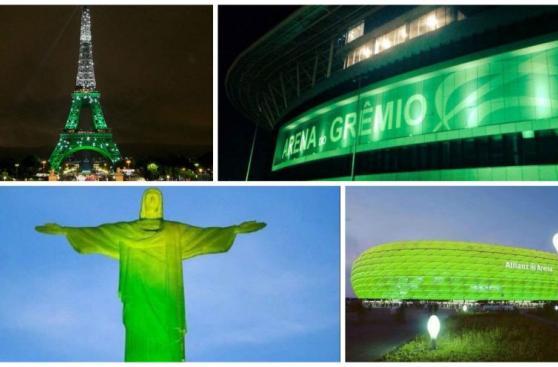 Monumentos del mundo se tiñeron de verde en honor a Chapecoense