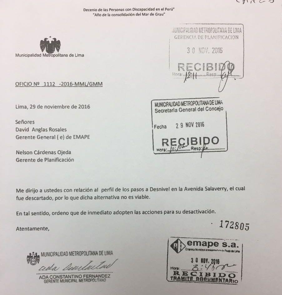 Documento con el cual la gerencia de la Municipalidad de Lima ordena a Emape descartar el proyecto. (El Comercio)