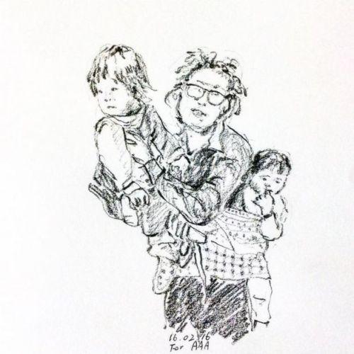 La mujer de Chan Jae con sus hijos, en este retrato. (Foto: Instagram de Chan Jae)
