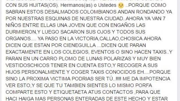 Facebook: estos son los mensajes sobre tráfico de órganos