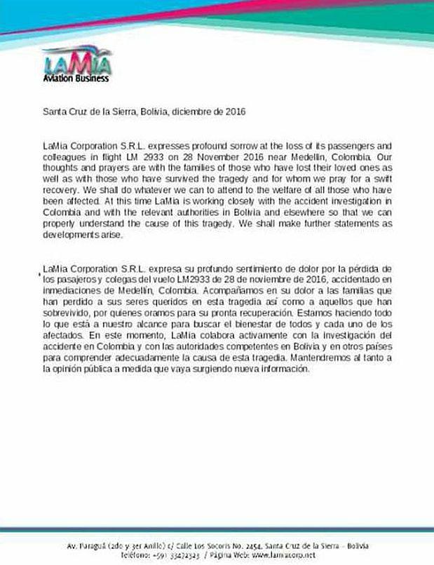[Foto] Chapecoense: La carta de la aerolínea a familiares de víctimas