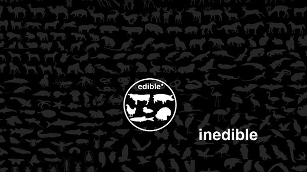 En este gráfico, Joy se refiere a los animales dentro del círculo como comestibles (edible) y los que están fuera como incomestibles (inedible).