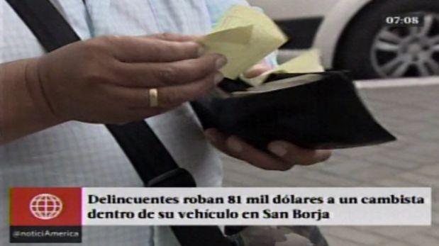 El cambista denunció que los serenos de San Borja no hicieron nada para impedir el robo. (América TV)
